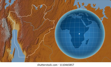 Burundi. Globe with the shape of the country against zoomed map with its outline. Topographic relief map