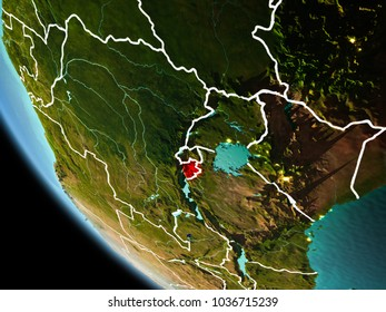 Burundi from orbit of planet Earth at night with highly detailed surface textures with visible border lines and city lights. 3D illustration. Elements of this image furnished by NASA.