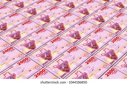 Burundian francs bills stacked background. 3D illustration.