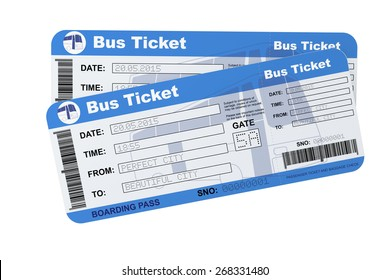 Bus boarding pass tickets on a white background