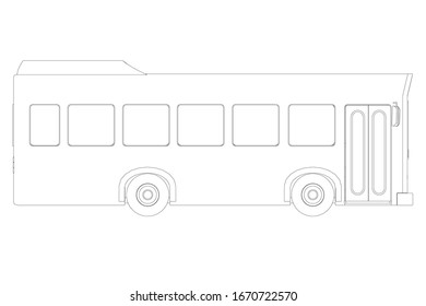 Bus contour isolated on a white background. Side view.