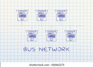 Bus topology images stock photos vectors shutterstock bus network topology laptops connected with each other in a bus network structure publicscrutiny Gallery