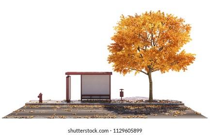 Bus Shelter by the Asphalt Road under Golden Colored Tree 3d rendering