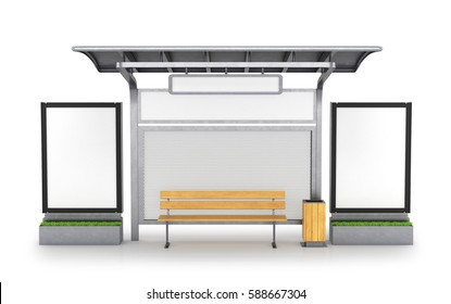 bus stop. 3D illustration