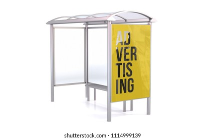 Bus Stop 3d rendering isolated on white background showing advertising