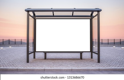 bus stop with big horizontal advertisement mockup 3d rendering