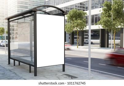 bus stop billboard on the street 3d rendering