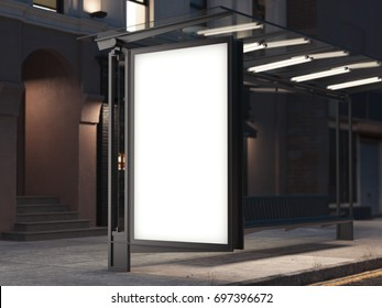 Bus stop with a blank banner on the dark street. 3d rendering