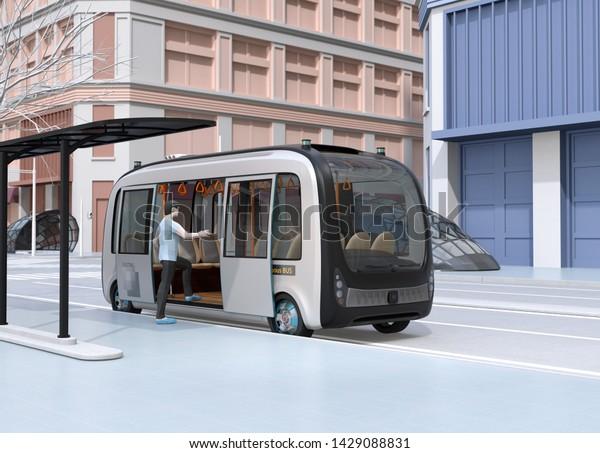 En una parada de autobús un hombre se suba a un autobús autónomo. Parada de autobús equipada con paneles solares. Imagen de representación 3D.