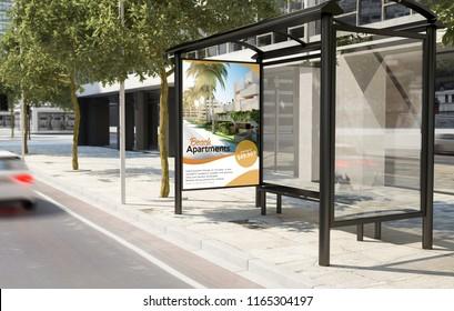 bus stop real estate billboard 3d rendering