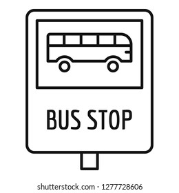 Bus stop traffic sign icon. Outline bus stop traffic sign icon for web design isolated on white background