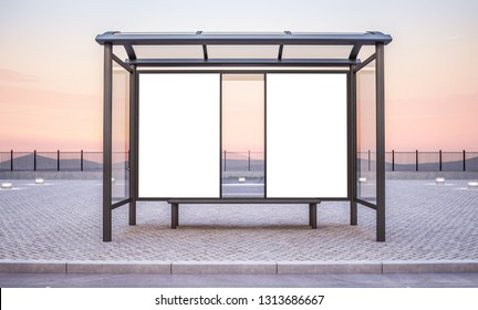 bus stop with two advertisements mockup 3d rendering