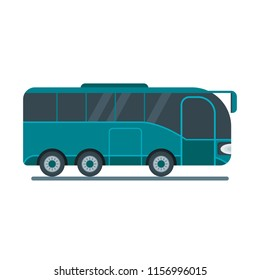 Bus for travel, takes tourists on a tourist route. Flat cartoon illustration. Objects isolated on a white background.