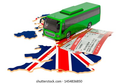 Bus travel in the United Kingdom, concept. 3D rendering isolated on white background