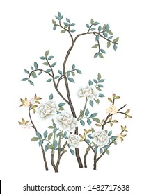 Bush flowering peony in the style of chinoiserie on a white background.