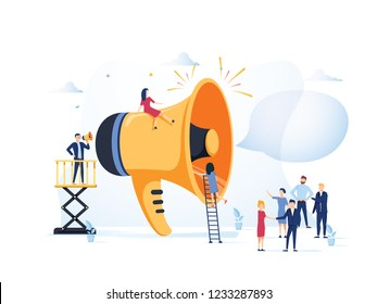 Business Advertising Promotion. Loudspeaker Talking to the Crowd. Big Megaphone and Flat People Characters Advertisement Marketing Concept illustration. Announcement business communication