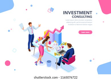 Business adviser team. Management of investment, meeting, account, consultant discussion. Data income graph professional analyzing, financial analyst concept. Characters on flat isometric illustration