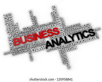 business analytics word cloud over white background