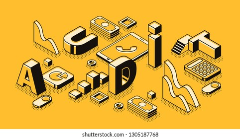 Business audit illustration in letters design and isometric black thin line on yellow halftone background. Company finance statistics and tax accounting documents examination service