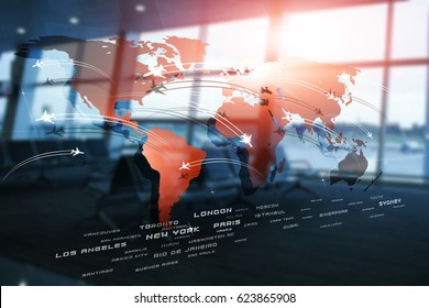 business aviation background with planes on world map on blurred airport terminal