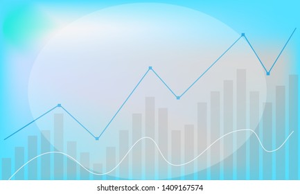 Business background, bar chart,  rising line graph, space for brand name, text  or logo, pale pattern.
