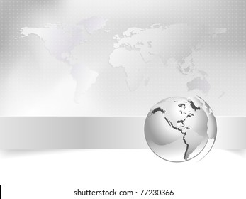 Business background with silver globe and world map - abstract light grey and white corporate design - elegant business brochure and business card concept