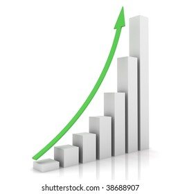 Business bar chart with arrow pointing up