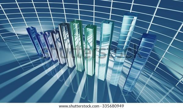 Business bar chart for economic concept. 3D rendering