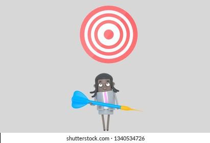 Business black woman holding a big blue dart. Dartboard. Isolated. 3d illustration
