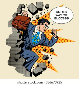 Business breakthrough success businessman hero breaks through the wall retro style pop art
