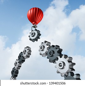 Business bridge building with a red hot air balloon lifting a gear up to the sky to construct and complete a bridged chain of cogs connected together as a result of strategy and planning for success.