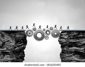 Business bridge as an industry success concept as workers or people crossing a path made of gears and cogs with 3D render elements.