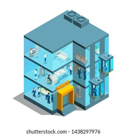 Business building with glass offices and elevators. Isometric architectural 3d illustration. Office glass business, architecture building facade