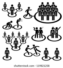Business Businessman People Network Relationship Company Connection Stick Figure Pictogram Icon