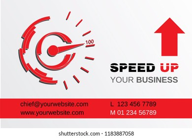 Business card design with creative stylized speedometer and graphic elements - speed up your business