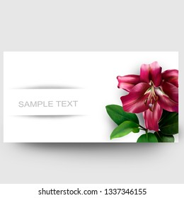 Business card design with a red Fleur-de-Lis and sample text