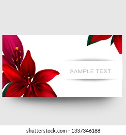 Business card design with red lilies and sample text