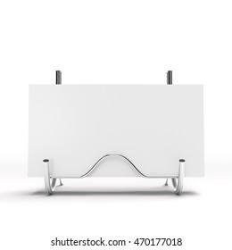 business card in a display rack. 3D rendering