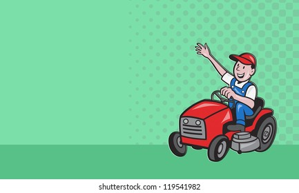 Business card ideal for lawn mowing services showing  illustration of a  gardener landscaper riding on ride-on mower mowing lawn done in cartoon style .