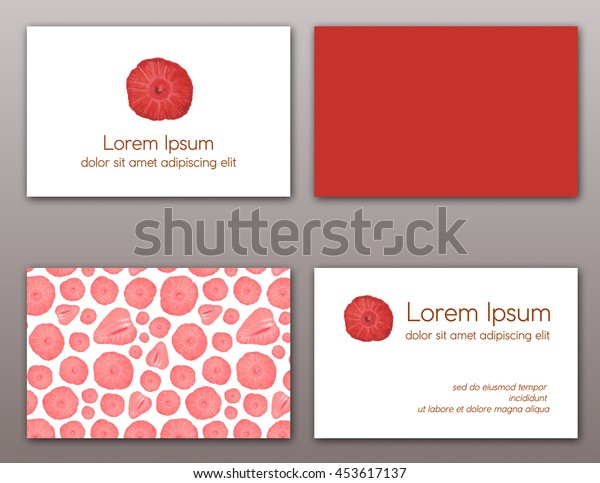 A business card with a picture of ripe juicy strawberries in a cut, painted with watercolors.