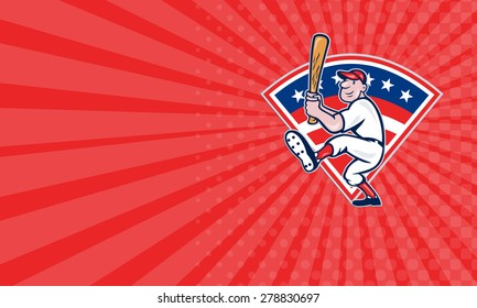Business card showing illustration of a american baseball player batting cartoon style isolated on white with stars and stripes set inside fan shape.