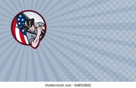 Business card showing Illustration of an American patriot minuteman revolutionary soldier with stars and stripes flag set inside circle done in retro style.