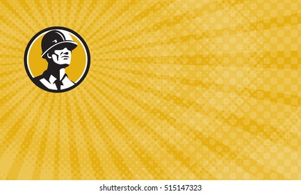 Business card showing Illustration of a builder construction worker wearing hardhat looking forward set inside circle done in retro style.