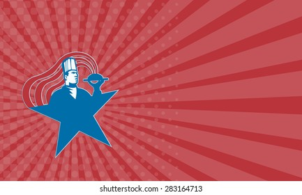 Business card showing illustration of a chef cook baker serving hot food with stars and stripes done in retro style.