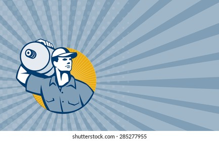 Business card showing illustration of a delivery worker carrying five gallon water jug on shoulder facing front set inside circle done in retro style.