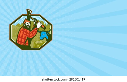 Business card showing illustration of Paul Bunyan a lumberjack sawyer forest worker swinging an axe with tree stumps and Babe the blue ox bull cow in background set inside hexagon done in retro style