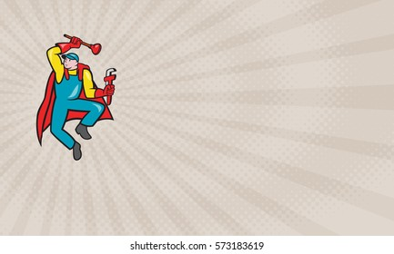 Business card showing Illustration of a superhero super plumber jumping with cape holding monkey wrench and plunger done in cartoon style.