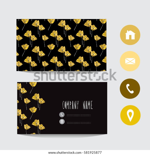 Business card template, design element. Can be used also for greeting cards, banners, invitations, flyers, posters. Decorative flowers