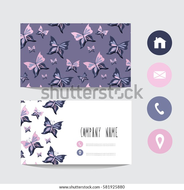Business card template, design element. Can be used also for greeting cards, banners, invitations, flyers, posters. Decorative butterflies