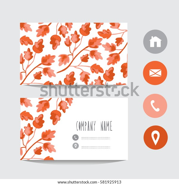 Business card template, design element. Can be used also for greeting cards, banners, invitations, flyers, posters. Decorative branches with leaves.